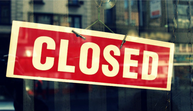 Local business listing marked as closed